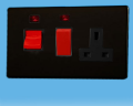 Varilight 45A Cooker Panel + 13A Switched Socket + Neon Screwless Jet Black XDL45PNBS
